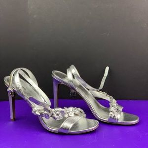 """Michael Kors """"Tricia"""" Dress Sandals Silver Leather"""